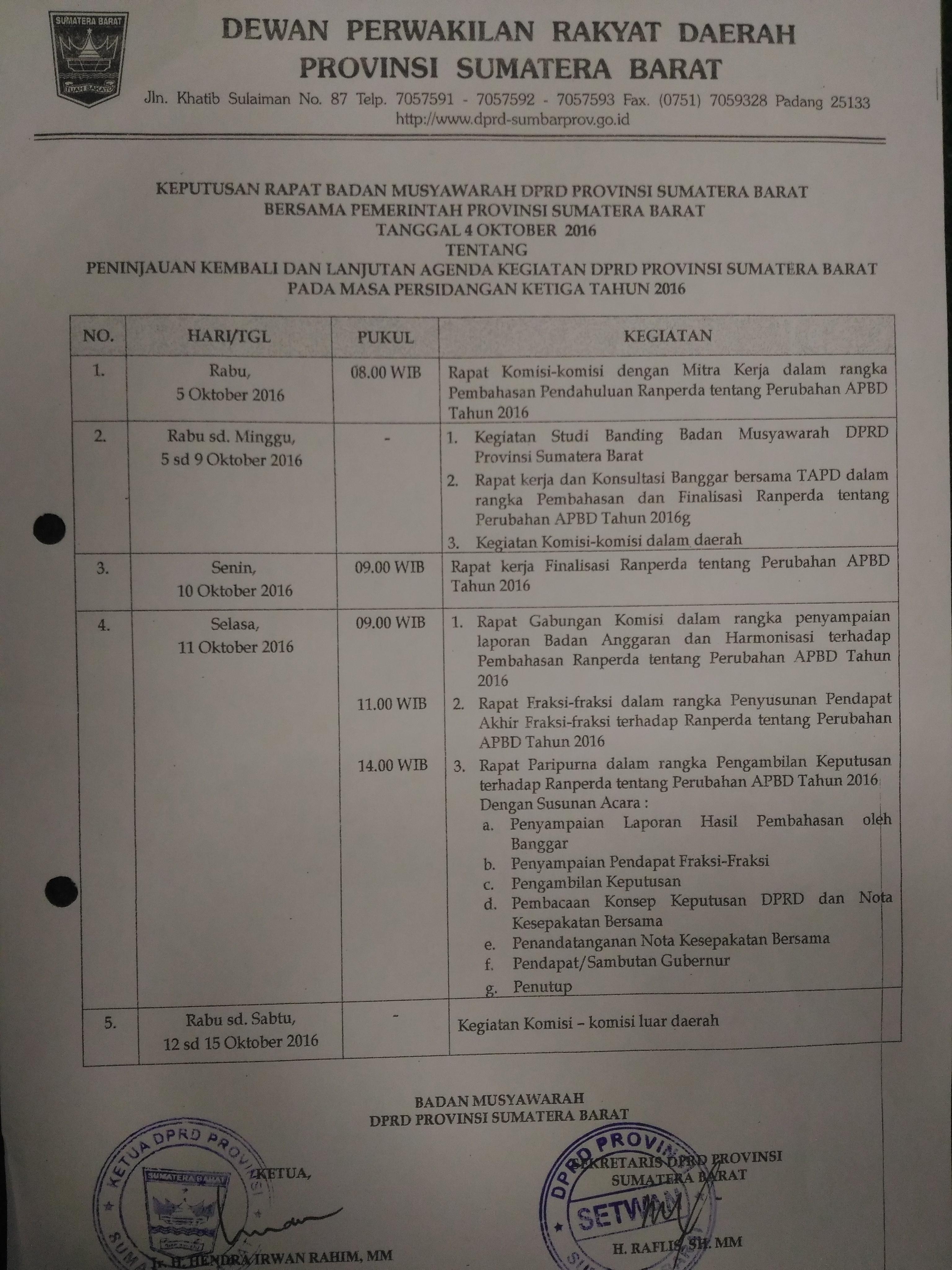 Jadwal Banmus Bulan Oktober 2016