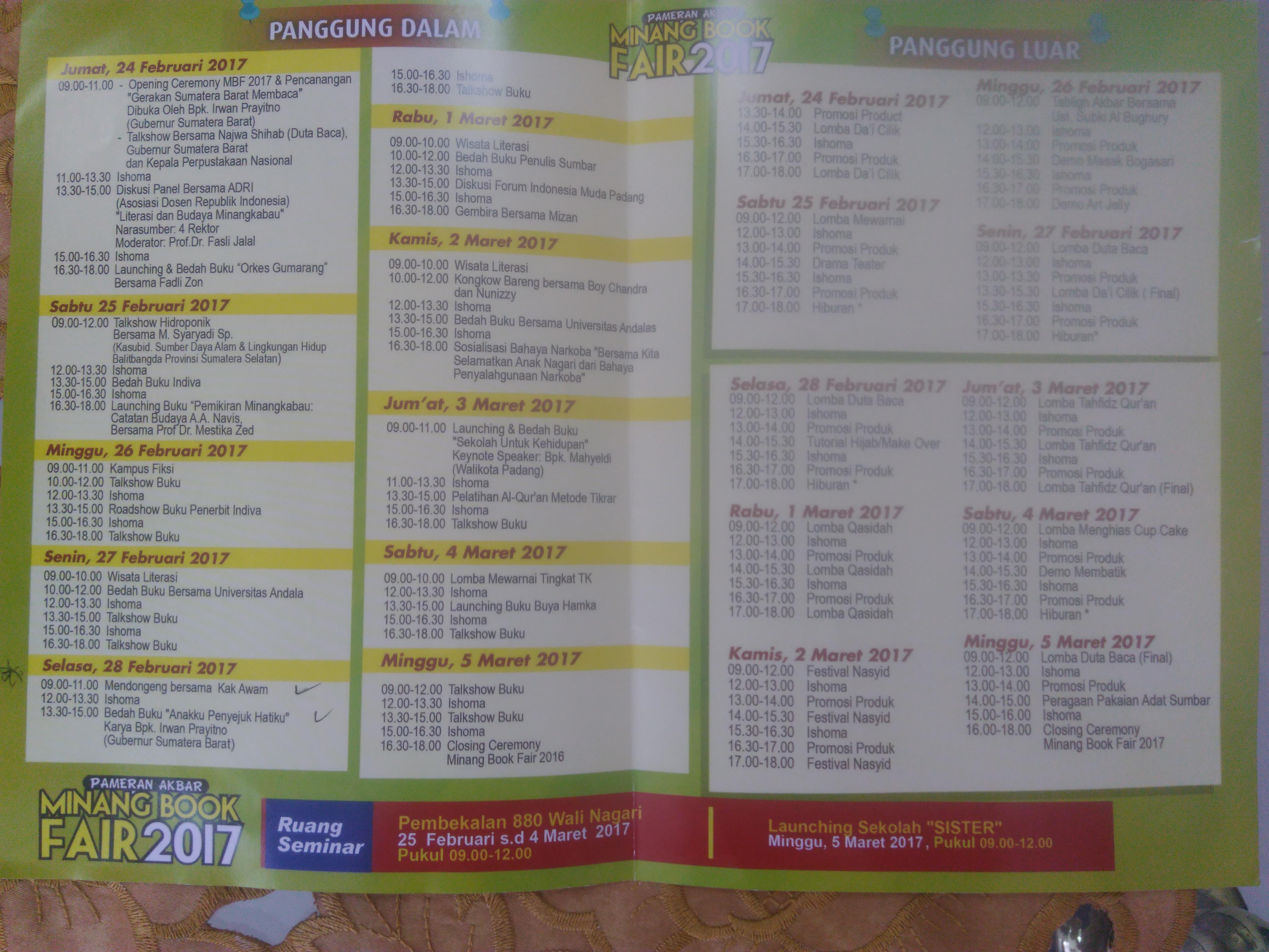 Jadwal Kegiatan Minang Book Fair 2017