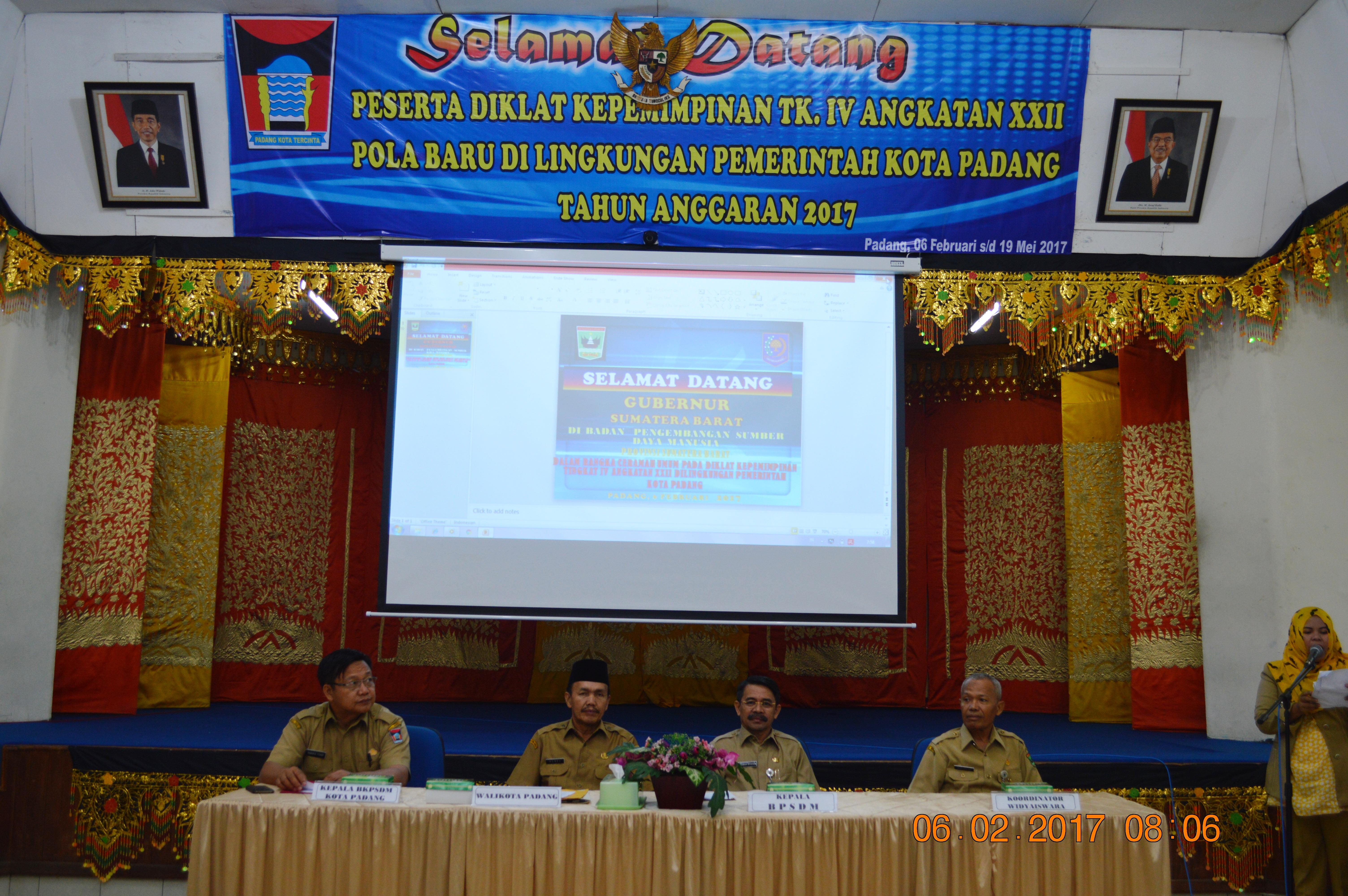 """Pembukaan """"Perdana"""" Diklat PIM Tingkat IV di Tahun 2017  BPSDM Provinsi Sumatera Barat"""