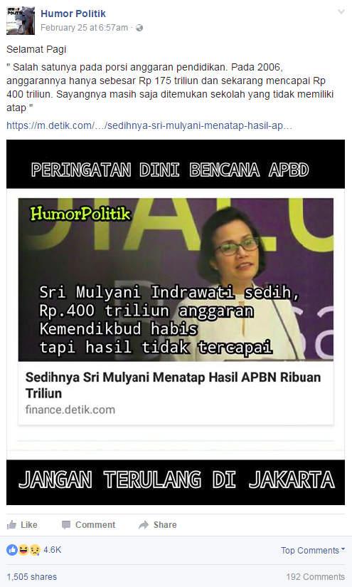 HOAX: Meme Anggaran Kemendikbud 400 Trilyun
