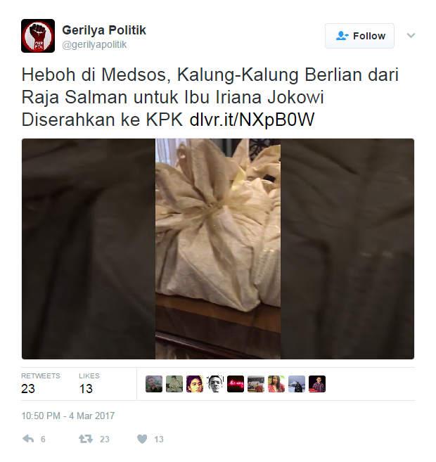 HOAX: Video Cindera Mata Raja Salman Untuk Ibu Iriana Jokowi Yang Diserahkan Ke KPK
