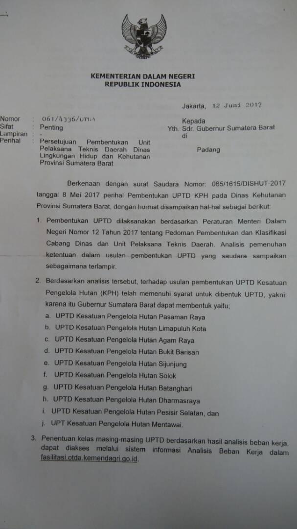 Kemendagri Menyetujui Pembentukan 10 KPH di Sumatera Barat.