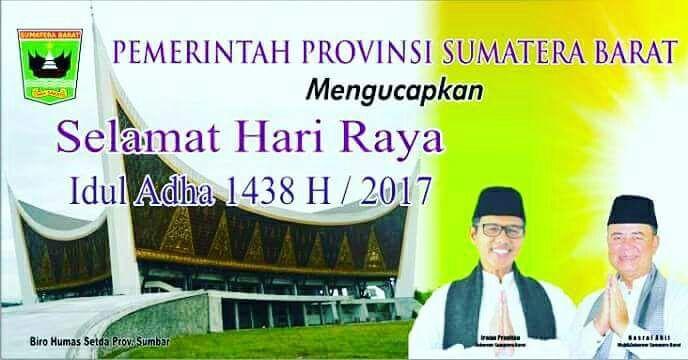 Gubernur dan Wakil Gubernur Sumatera Barat Mengucapkan Selamat Hari Raya Idul Adha