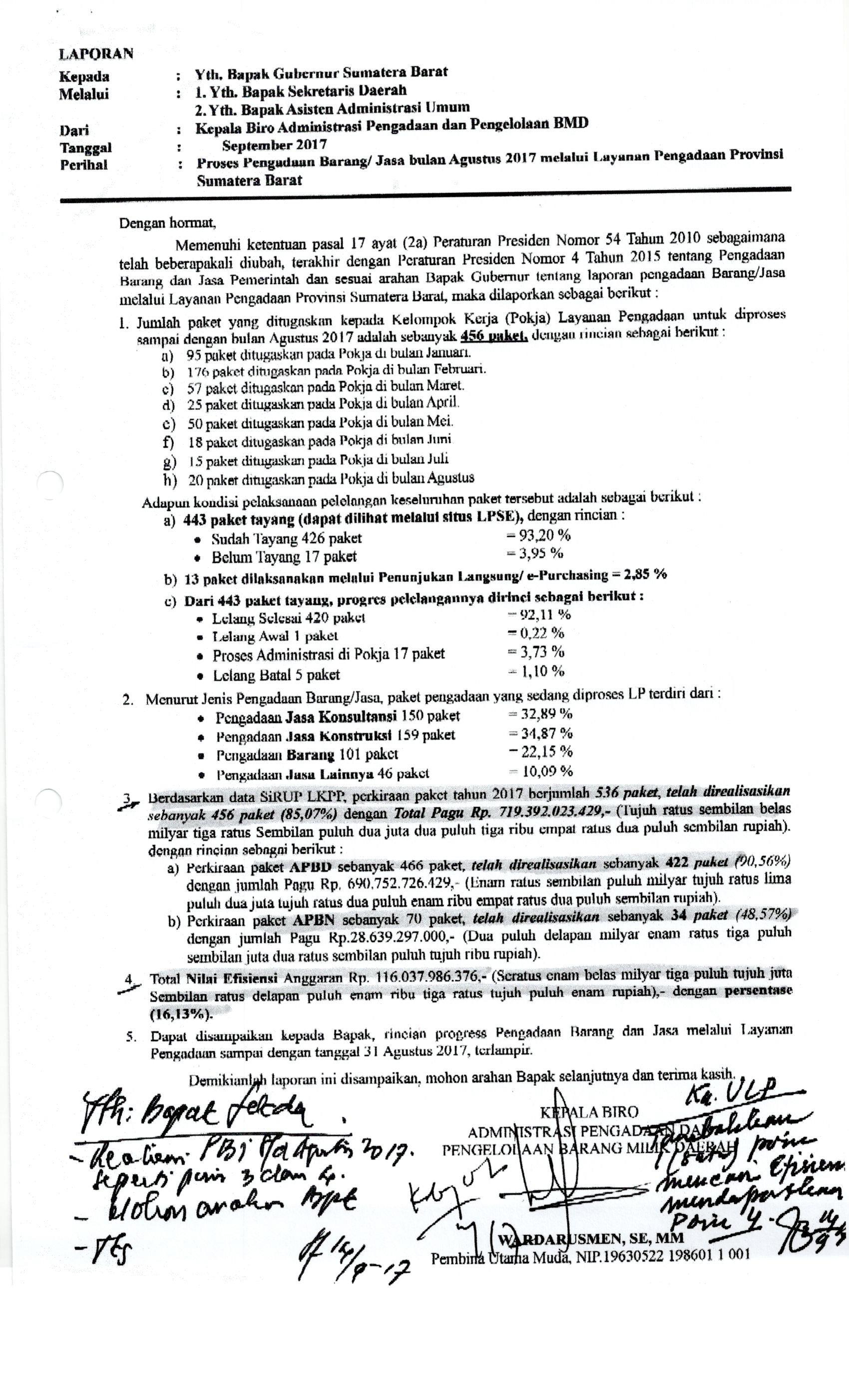 Proses Pengadaan Barang/Jasa Bulan Agustus 2017 Melalui Layanan Pengadaan Provinsi Sumatera Barat