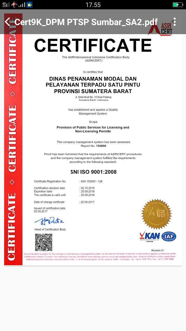 Hari ini sertifikasi SNI ISO : 9001 : 2008 managemen mutu diberikan ke DPM&PTSP prov sumbar