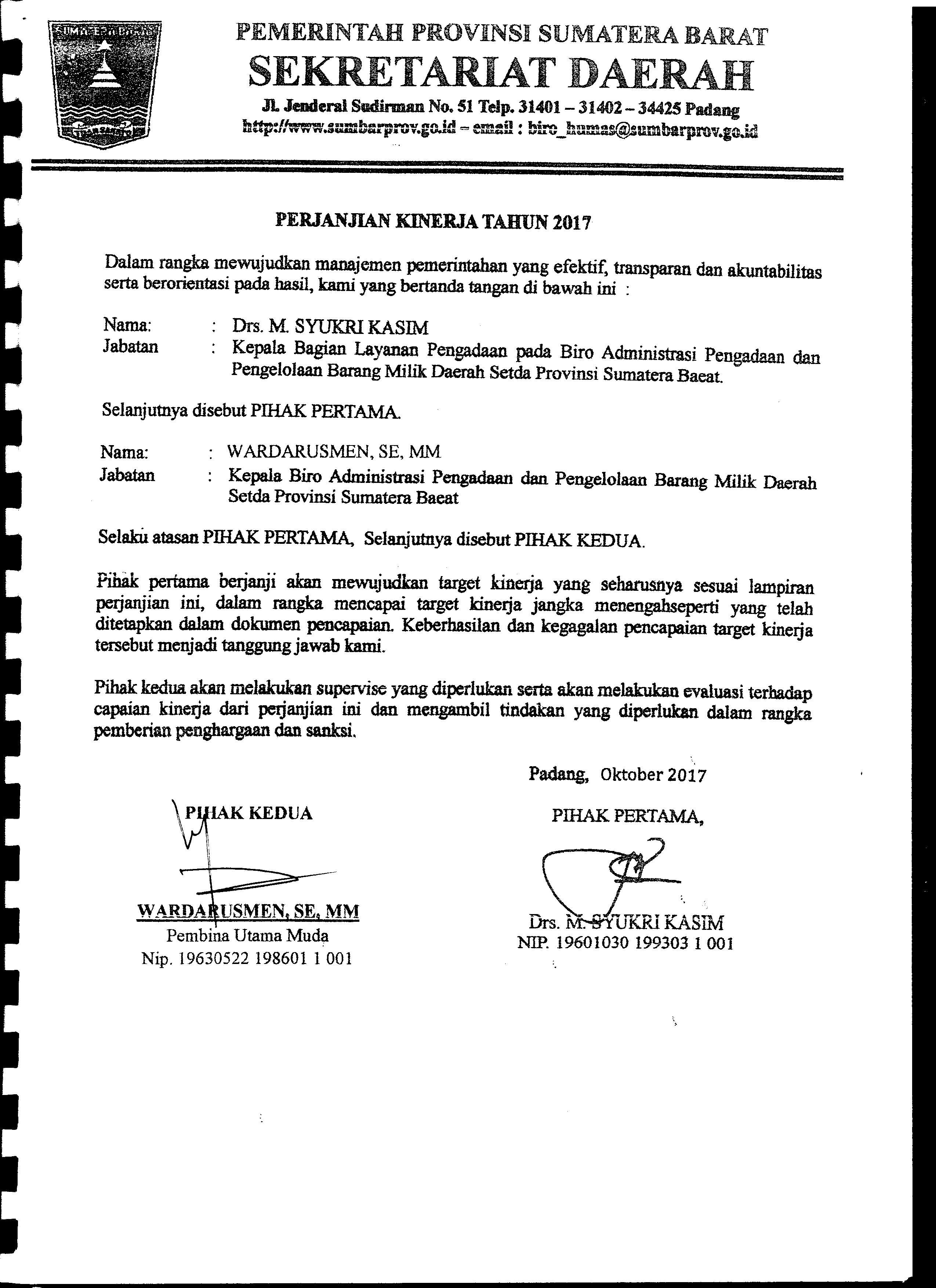Perjanjian Kinerja Kabag. Layanan Pengadaan Biro AP2BMD Tahun 2017
