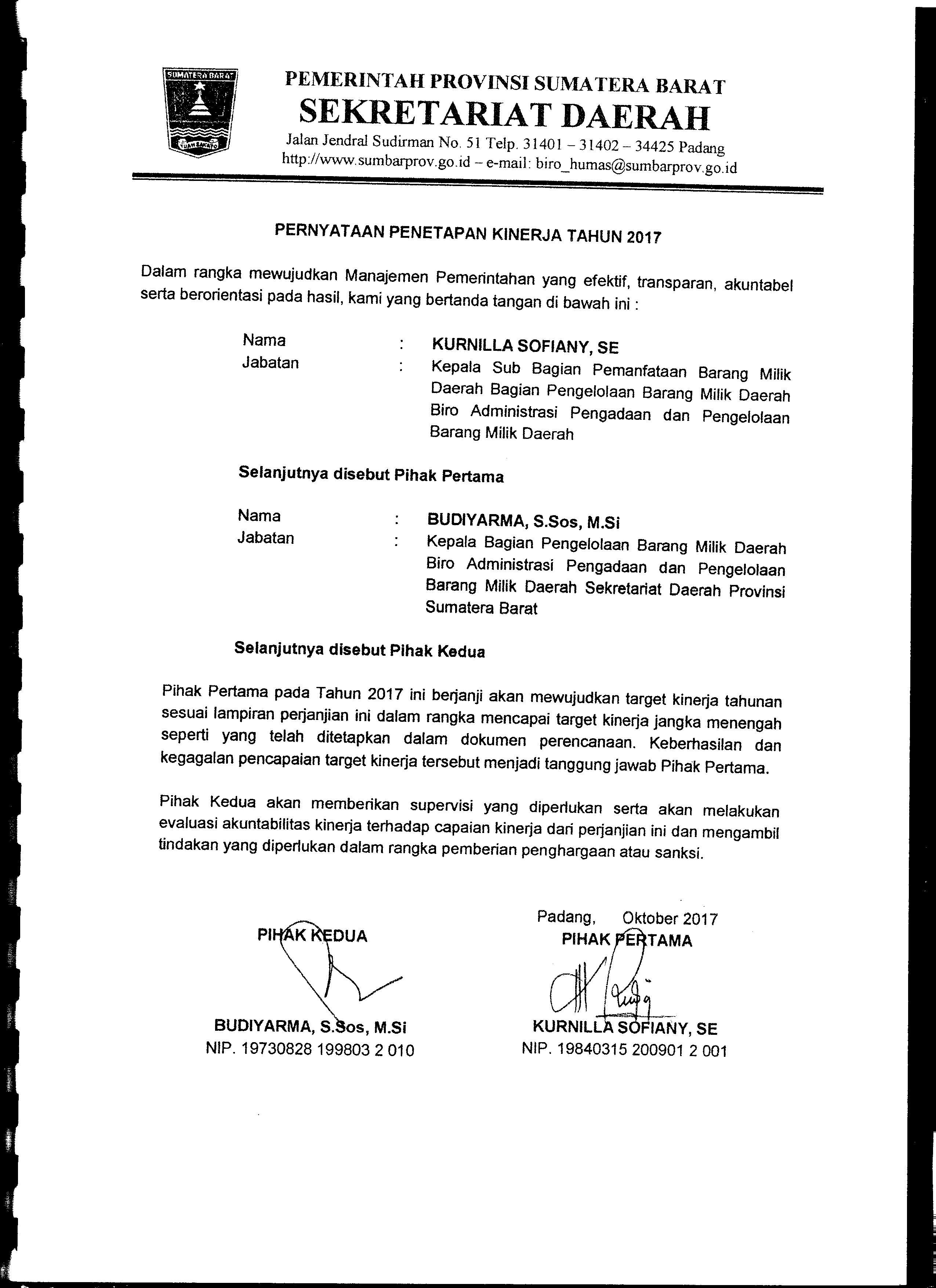 Perjanjian Kinerja Kasubag Pemanfaatan BMD Biro AP2BMD Tahun 2017