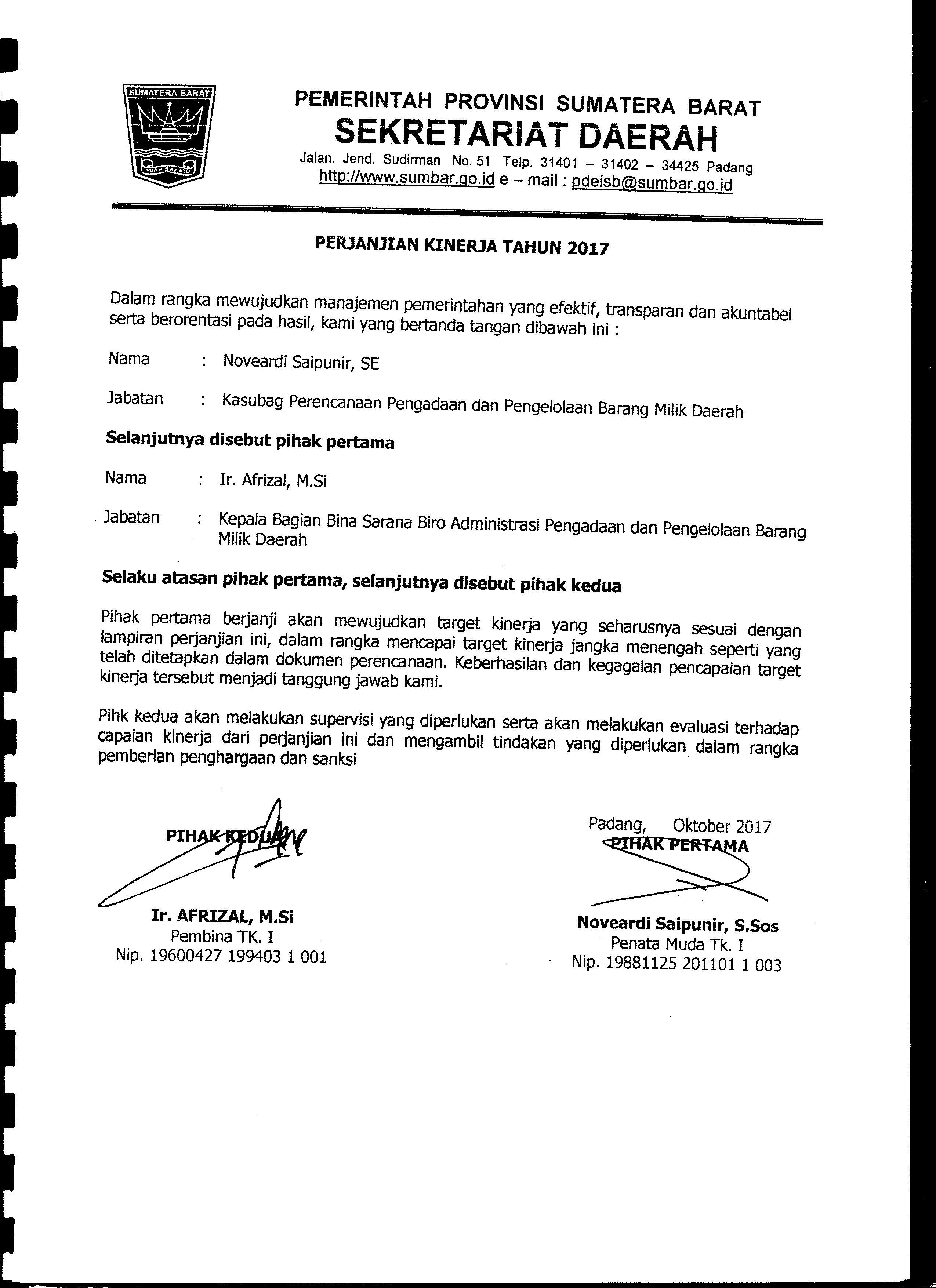 Perjanjian Kinerja Kasubag Perencanaan Pengadaan dan BMD Biro AP2BMD Tahun 2017