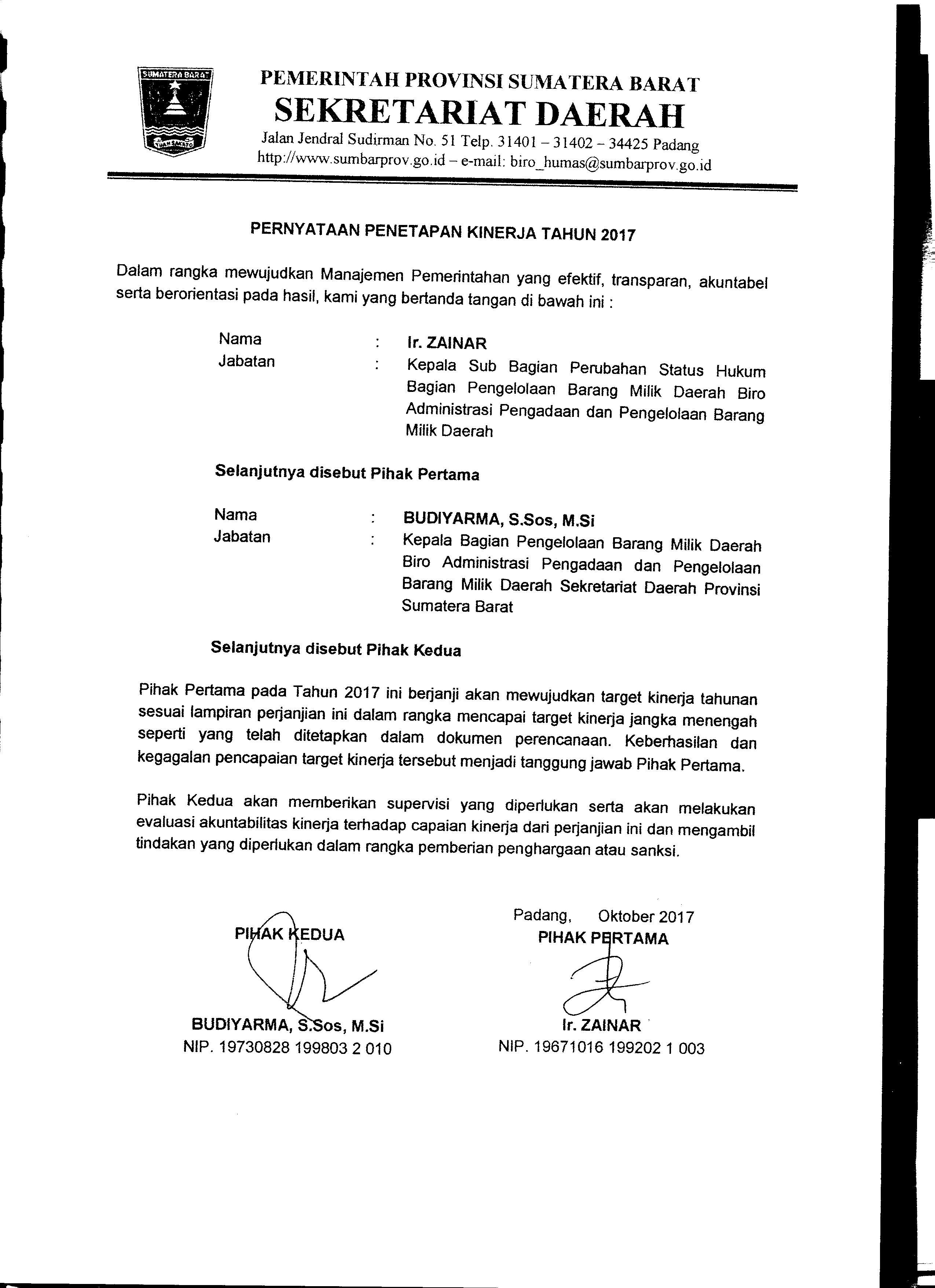 Perjanjian Kinerja Kasubag Perubahan Status Hukum Biro AP2BMD Tahun 2017