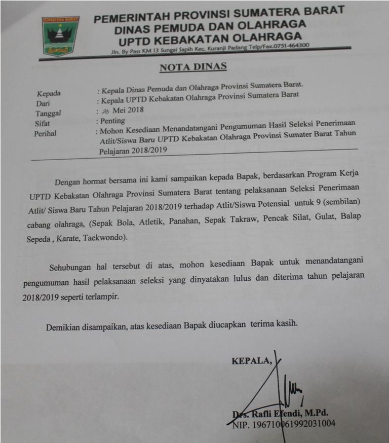 HASIL SELEKSI PENERIMAAN ATLIT/SISWA BARU UPTD KEBAKATAN OLAHRAGA TAHUN PELAJARAN 2018/ 2019