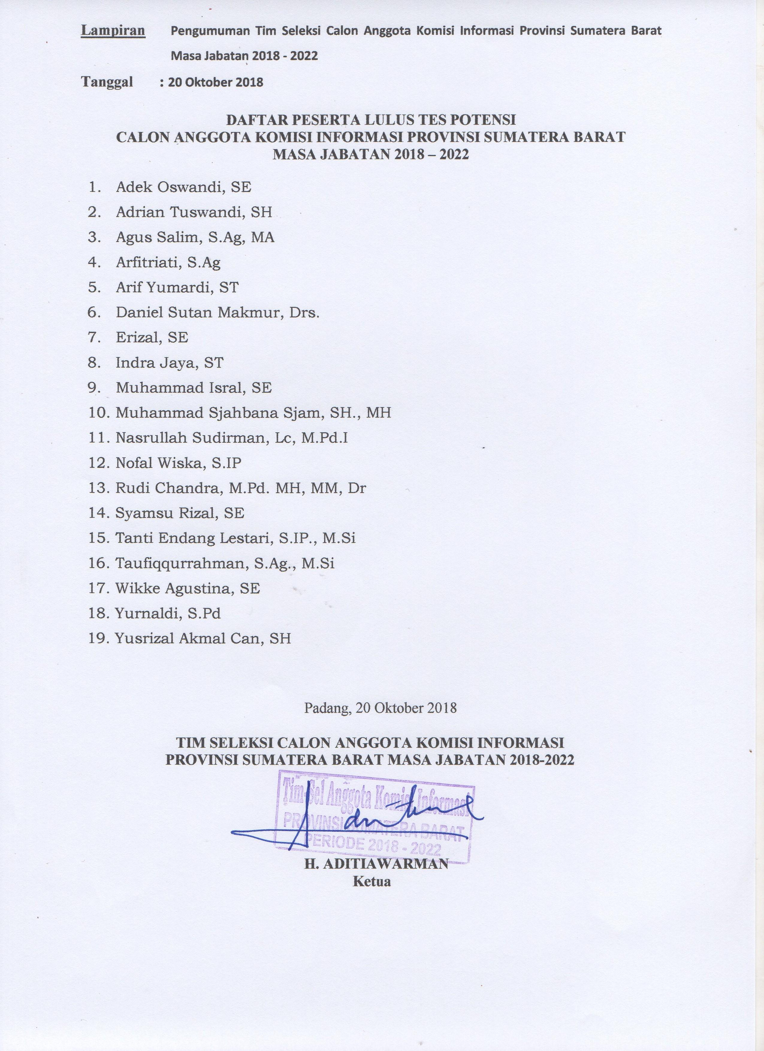 Lampiran Nama Peserta Lulus Tes Potensi Seleksi Calon Anggota Komisi Informasi Provinsi Sumatera Barat Masa Jabatan 2018-2022