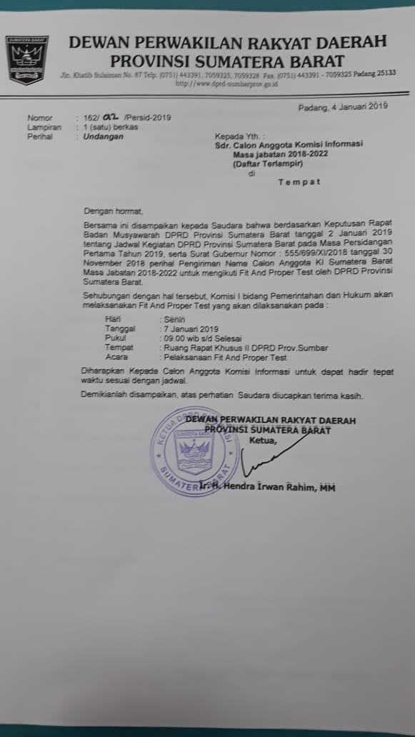 Jadwal Fit And Proper Test Calon Anggota Komisi Informasi Sumbar