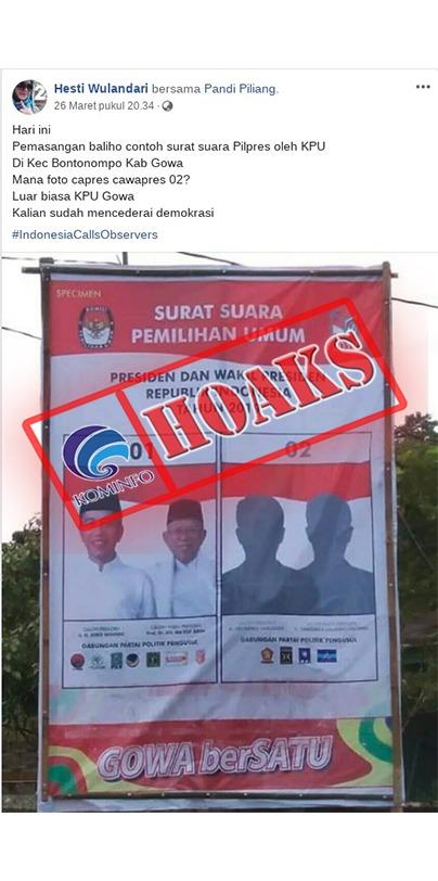 Baliho Surat Suara di Gowa Tidak Mencantumkan Foto Prabowo-Sandi [Hoax]
