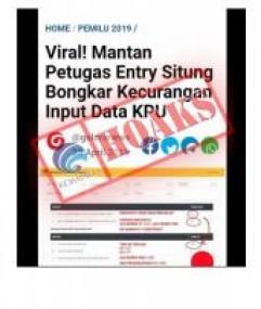 Mantan Petugas Entry Situng Bongkar Kecurangan Input Data KPU [Hoax]
