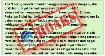 Penyerangan Ulama di Pondok Pesantren Miftahul Jannah Karawang [Hoax]