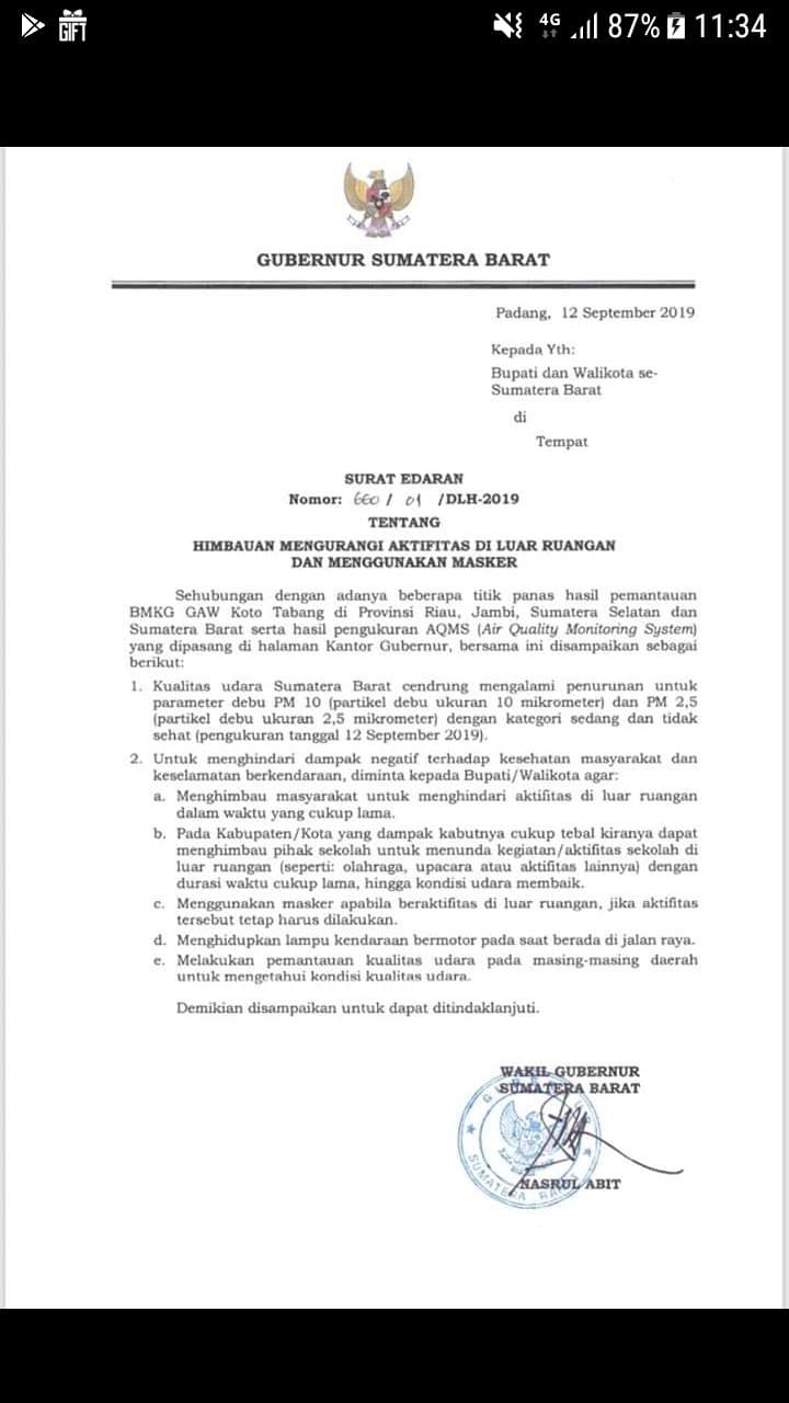 SE Gubernur Tentang Himbauan Mengurangi Aktifitas di Luar Ruangan dan Menggunakan Masker