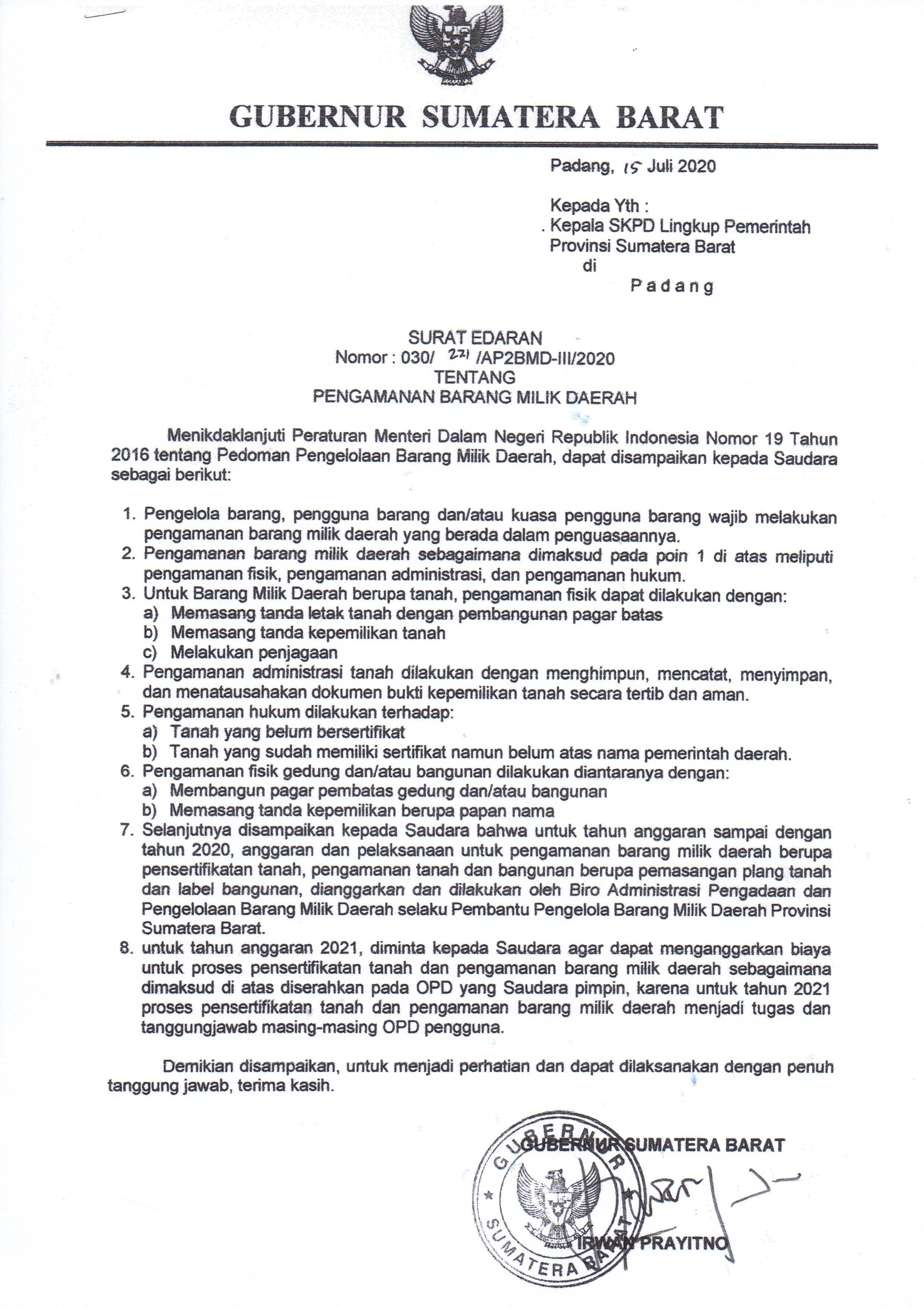 SE Gubernur Sumatera Barat tentang Pengamanan Barang Milik Daerah
