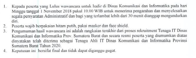 Hasil Wawancara Rekruitment Tenaga Informasi Teknologi Lingkup Pemerintah Provinsi Sumatera Barat