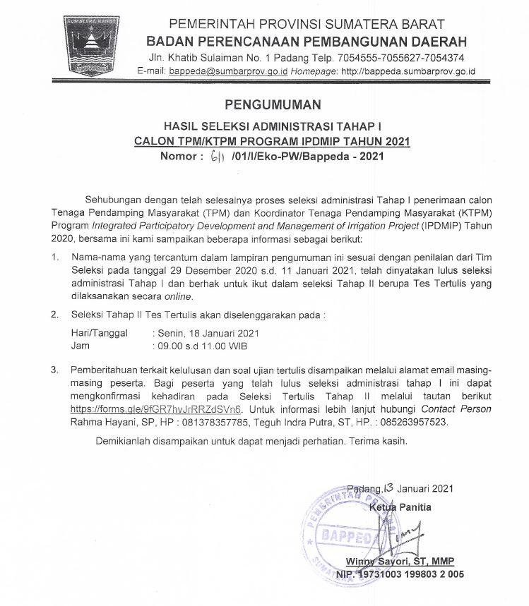 Hasil Seleksi Administrasi Tahap I Calon TPM/KTPM Program IPDMIP Tahun 2021