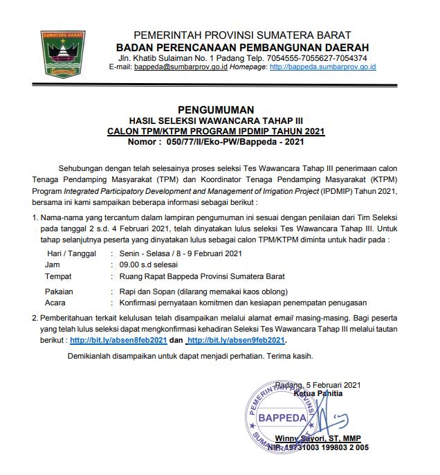 HASIL SELEKSI WAWANCARA TAHAP III CALON TPM/KTPM PROGRAM IPDMIP TAHUN 2021
