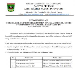 Hasil Seleksi Administrasi Rekruitmen Tenaga Asisten Ahli Komisi Informasi Provinsi Sumatera Barat Tahun 2021