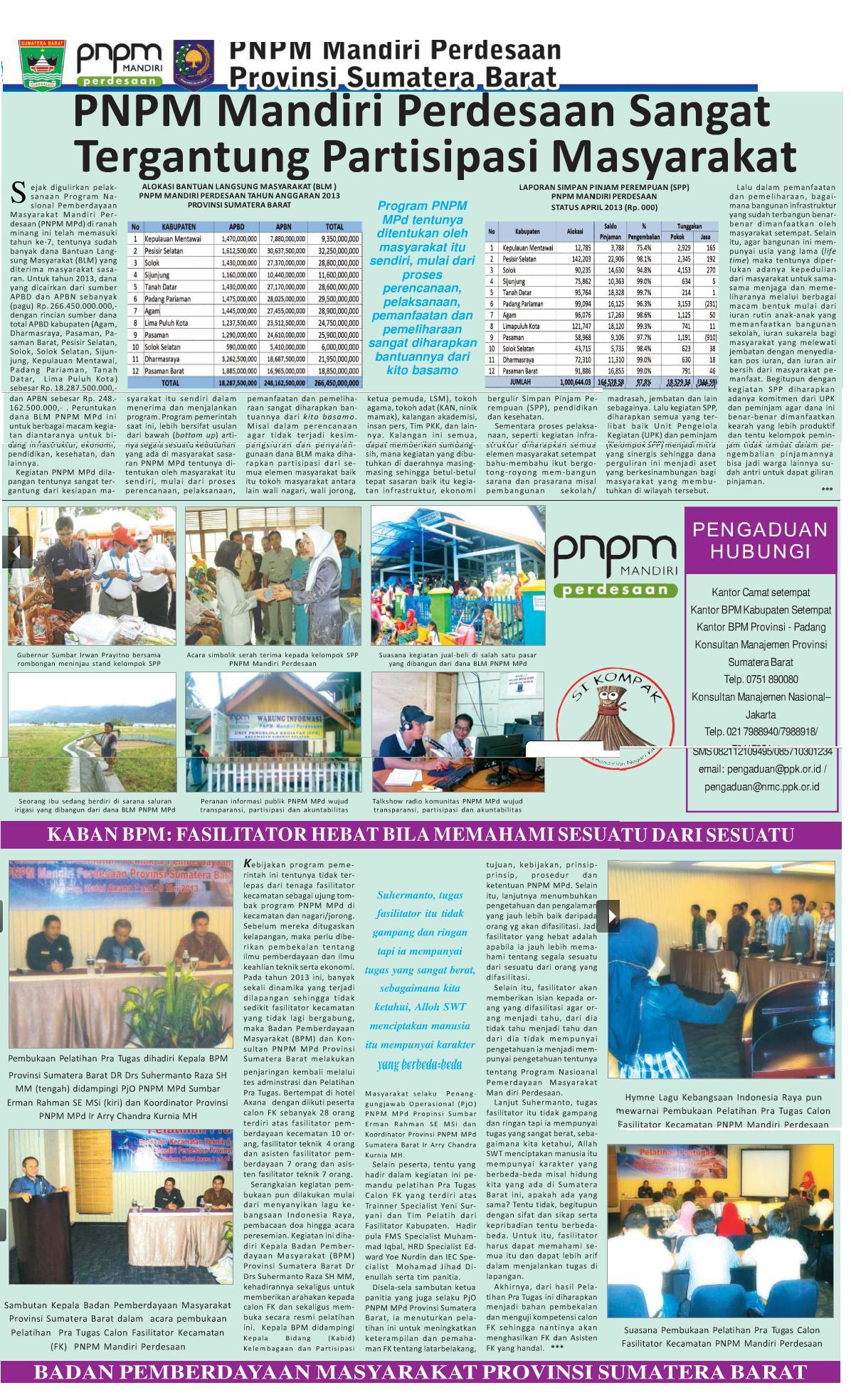 PNPM-MPd Tergantung Partisipasi Masyarakat