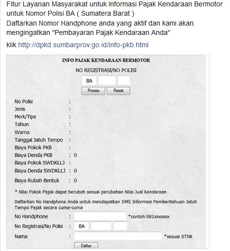 Fitur Layanan Masyarakat untuk Informasi Pajak Kendaraan Bermotor untuk Nomor Polisi BA ( Sumatera Barat )